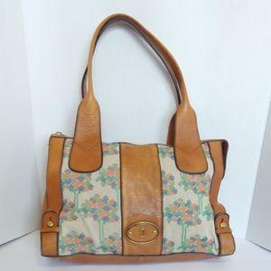 Fossil embroidered leather handbag
